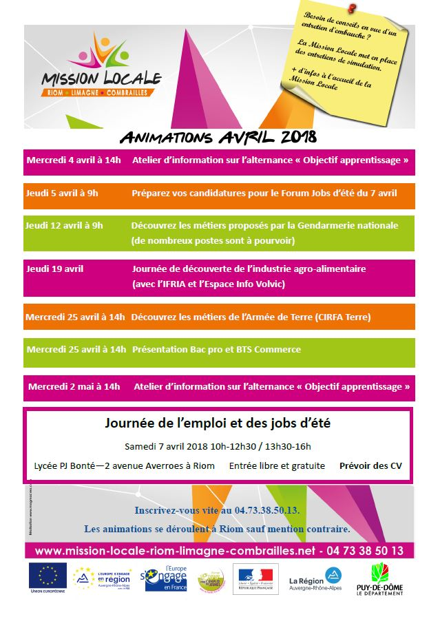 Planning des animations avril 2018